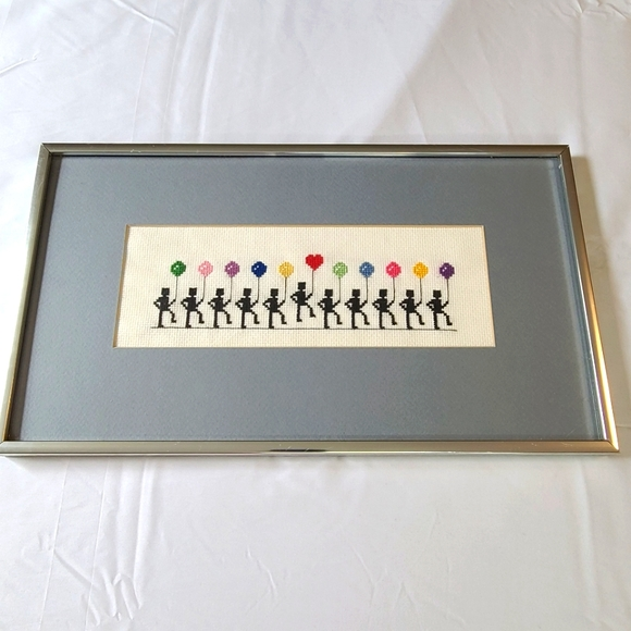 Framed Cross Stitch Completed Colorful Ballons